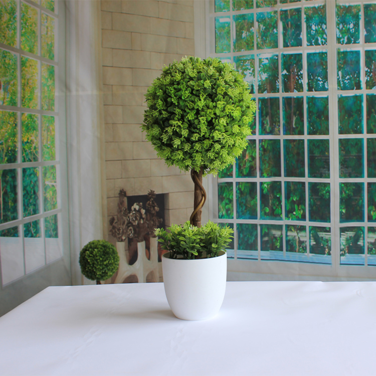 Simulation green plants mini potted bonsai trees grass ball tree ornaments artificial flowers for home decoration creative gift