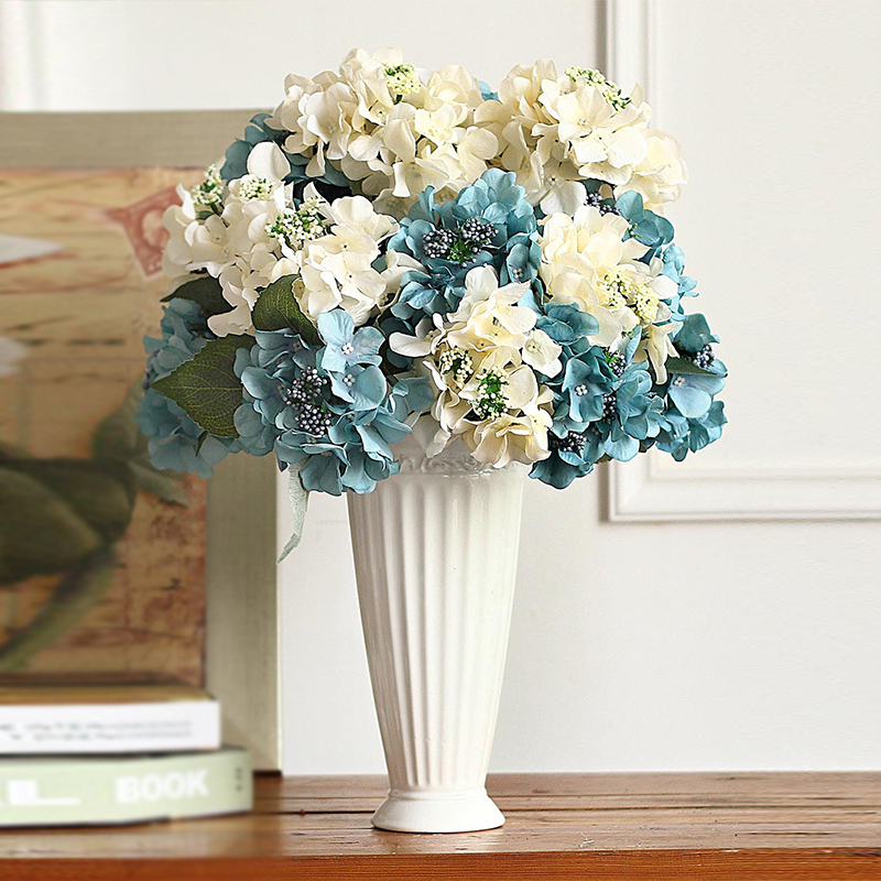 Simulation hydrangea wedding bouquet decorative artificial flowers artificial flowers overall floral decoration living room ceramic vase modern minimalist