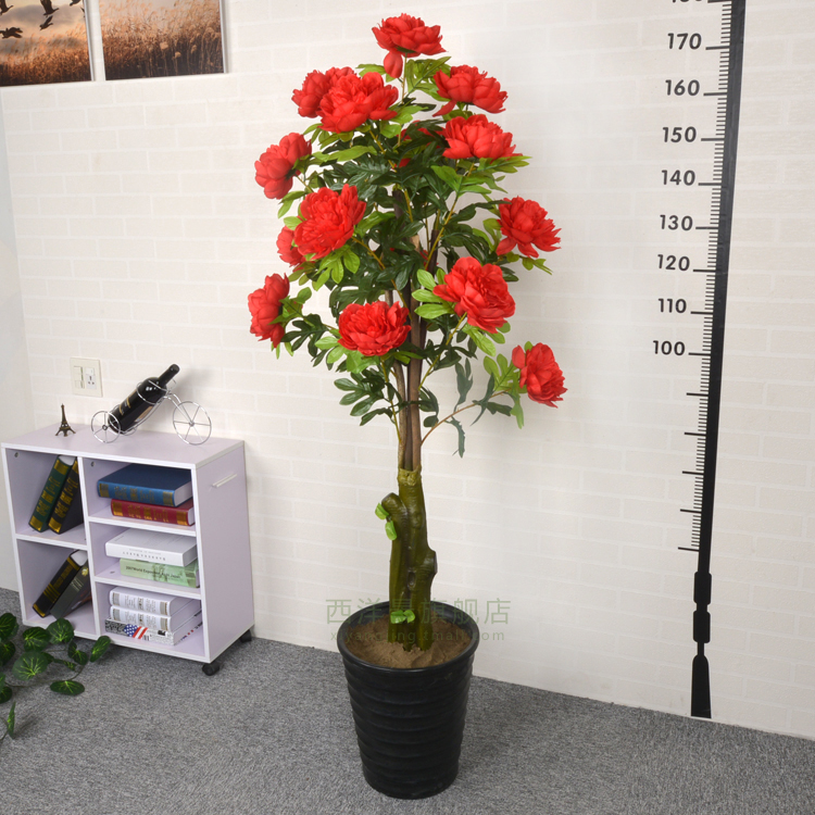 Simulation peony silk flower artificial flowers decorate the living room floor high simulation fake tree tree plant pots decorations landscaping