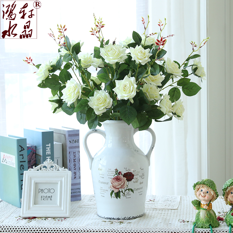 Simulation rose silk flower artificial flowers artificial flowers living room table decoration flower home furnishings plastic flowers silk flower floral floral