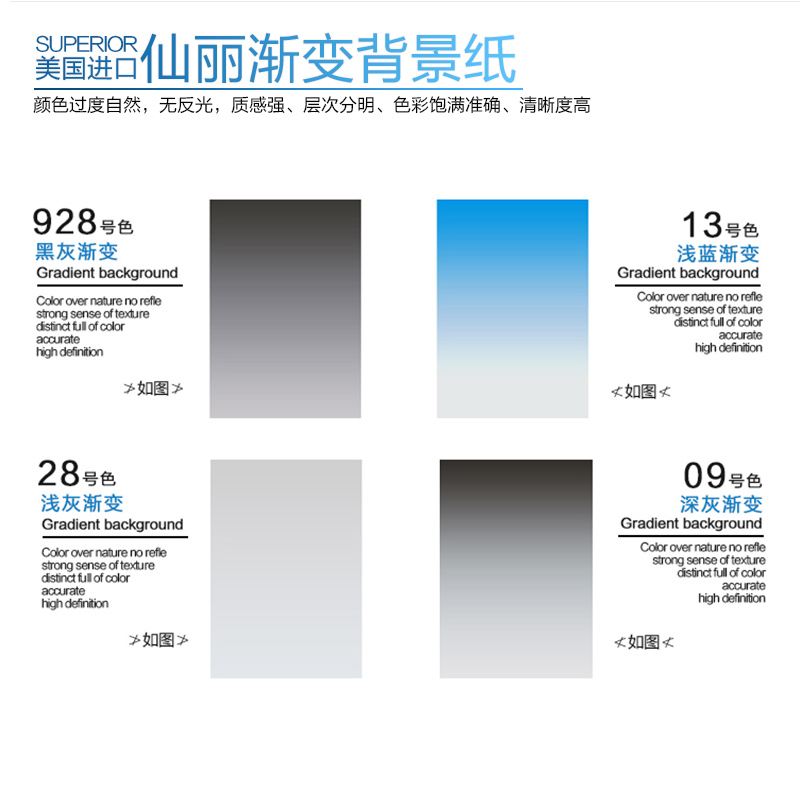 Sin korea imported professional gradient background paper cloth 110 * 160cm black and white gray gradient background photographic equipment props