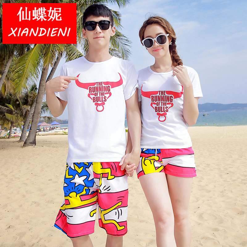 Sin skipperling borderies student couples suite seaside tourist beach lovers summer beach pants casual cotton t