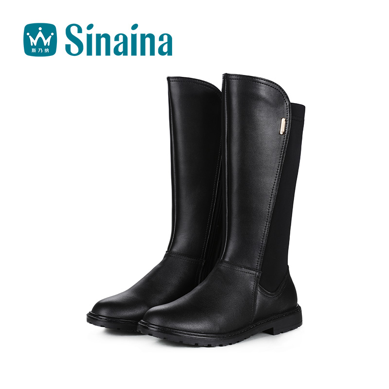 Sinai satisfied girls big boy boots leather boots 2016 new winter boots female high boots warm boots children