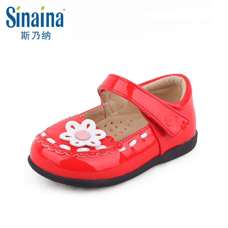 Sinai satisfied shoes 2016 spring new shoes girls shoes leather shoes square mouth shoes flowers princess shoes children shoes