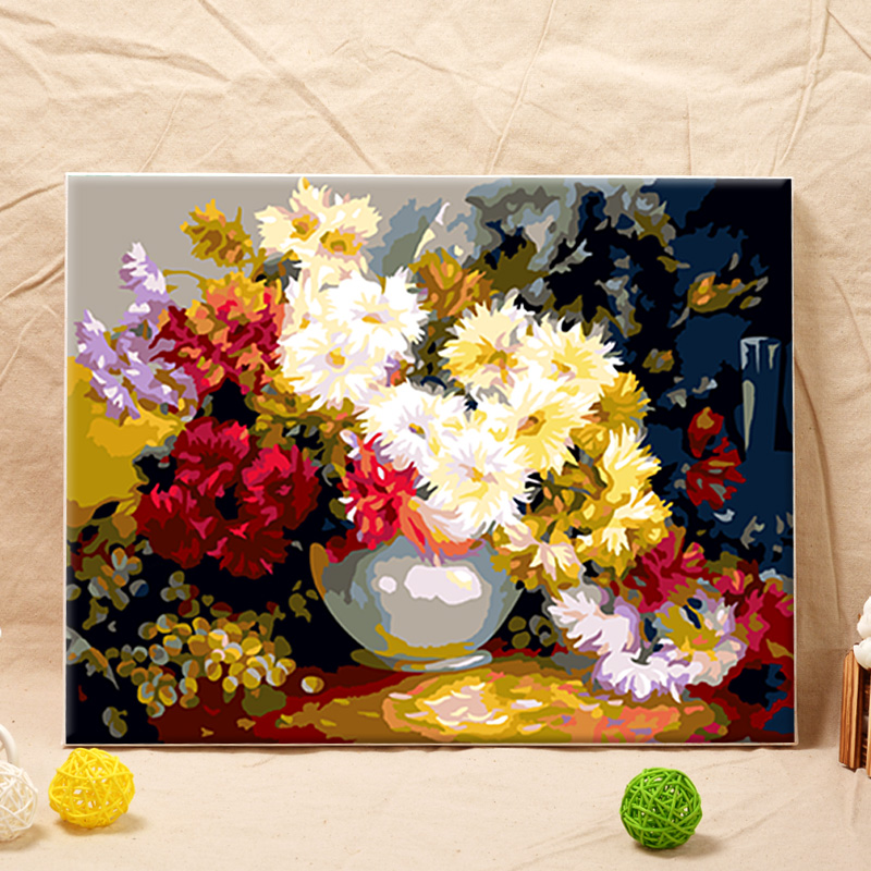 Since oil painting diy digital painting painted sharply married couples living room landscape flower painting decorative painting autumn chrysanthemum