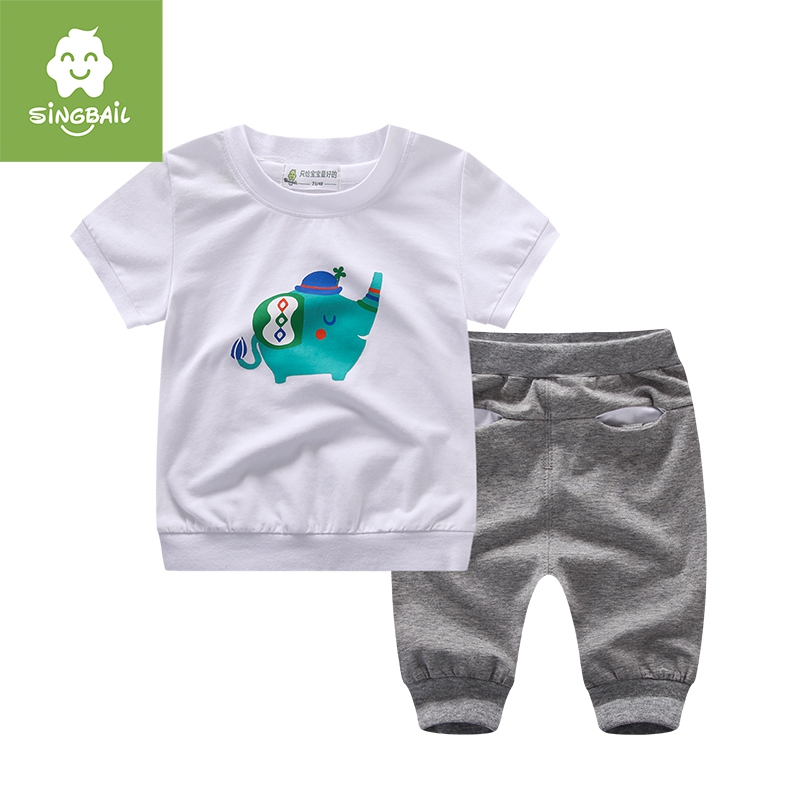 Singbail2016 suit boys and girls summer influx of new infant baby short sleeve t-shirt shorts suit