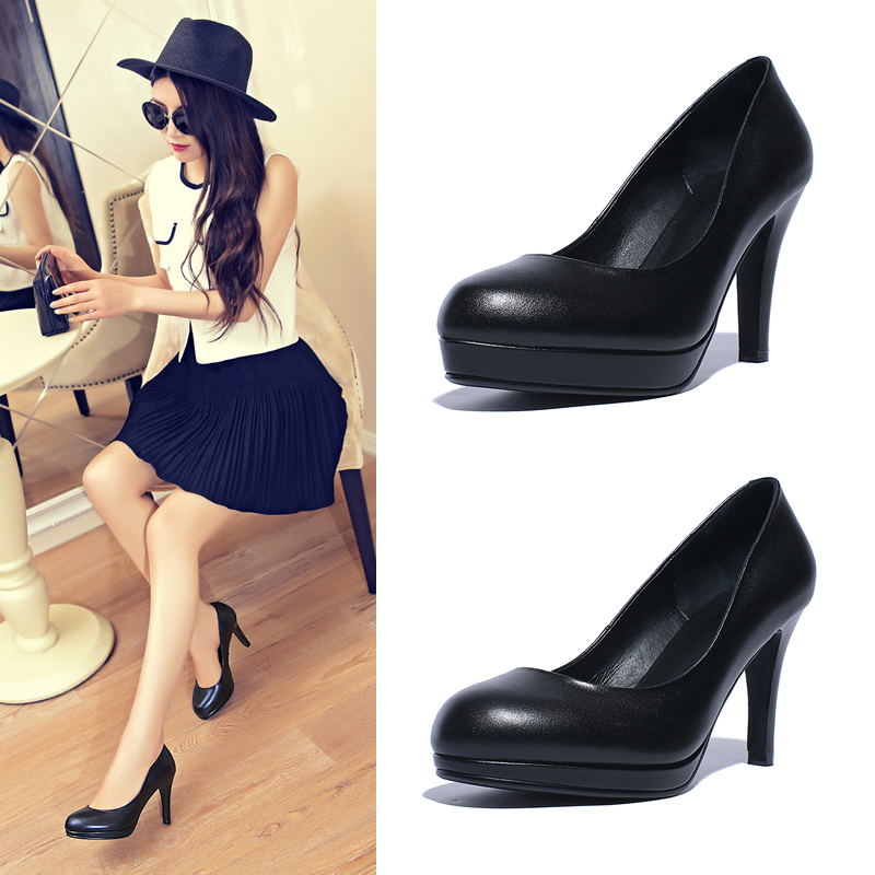 Singles leather shoes wear high heels waterproof platform shoes round shallow mouth ladies shoes leather black shoes