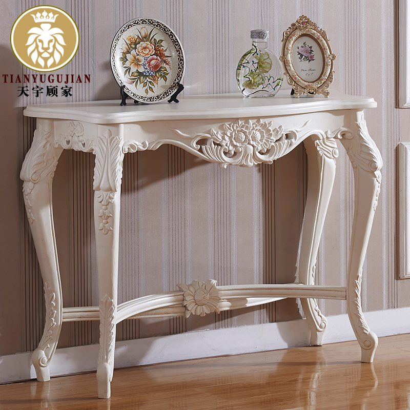 Sky homely euclidian contadino style ash wood furniture console tables entrance cabinet antique white vestibule