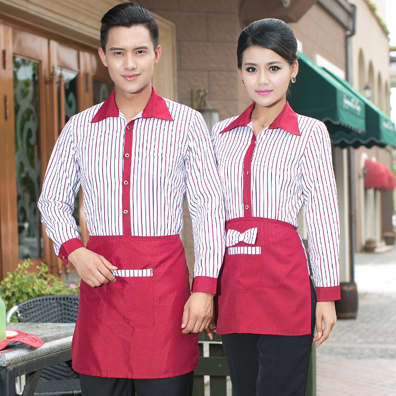 Sleeved overalls hotel restaurant waitress uniforms overalls fall and winter clothes fast food restaurant uniforms pot shops