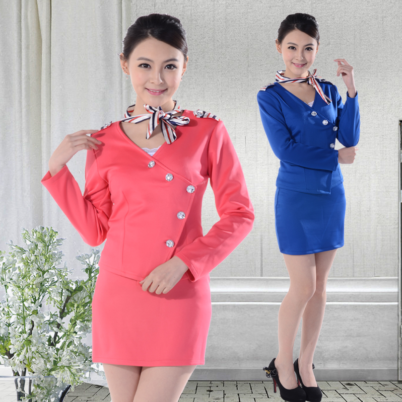 Sleeved stewardess uniforms career suits beautician overalls skirt suits hotel uniforms fall and winter uniforms snare drum clothes