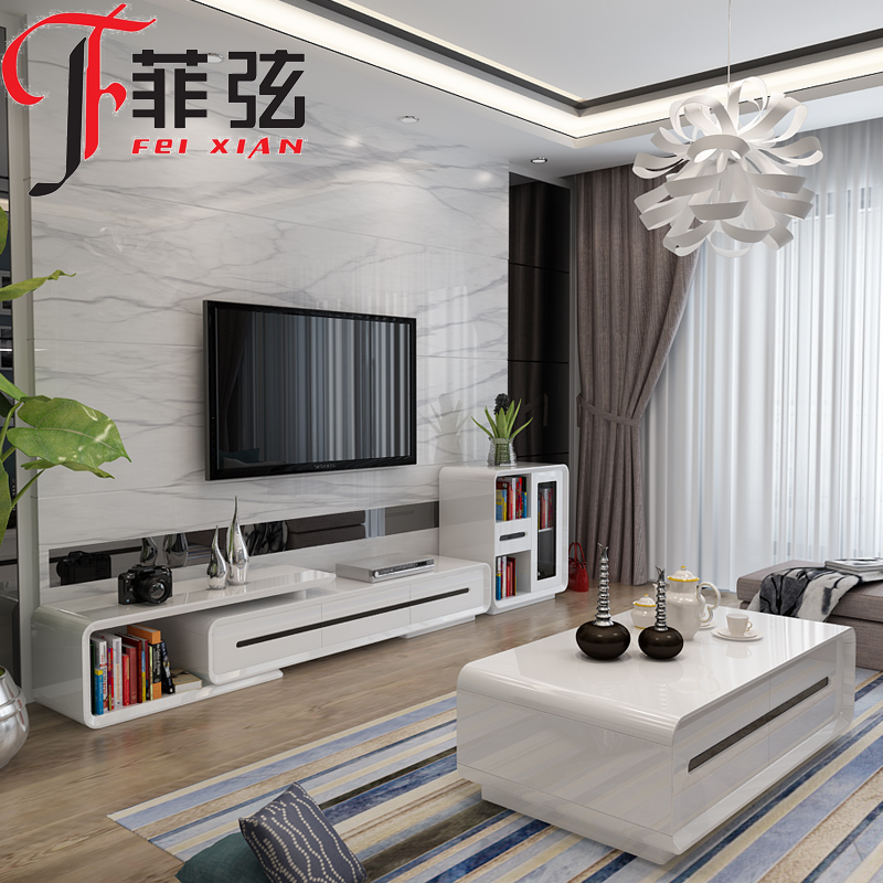 Small apartment living room furniture minimalist coffee table tv cabinet combination packages retractable tv cabinet cabinet cabinet lockers
