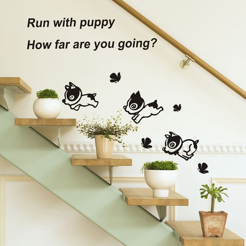 Small dog happy dog-lovely and lively staircase entrance hallway hallway baseboard wall stickers wall decoration