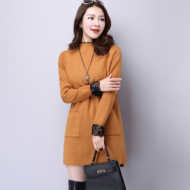 Get Quotations · Small high collar sweater female hedging sweater and long  sections stitching lace dress autumn and winter 9adbd2b14
