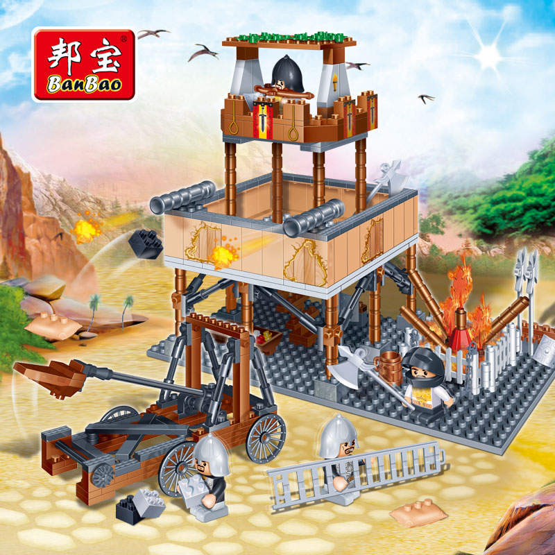 [Small particles] bang bao yizhi fight inserted blocks castle building boy gift toy lookout 8265