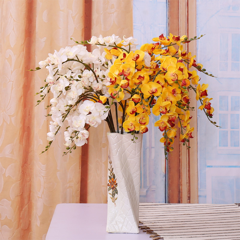 Small pu single branch phalaenopsis flower artificial flowers artificial flowers flower arrangement artificial flowers silk flower artificial flower decoration flower bouquet