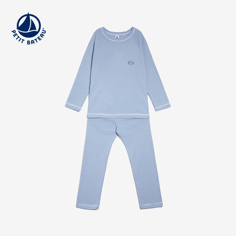8a4bf96523 Get Quotations · Small sailboat petitbateau boys long sleeve piece pants  striped pajama suit tracksuit fall and winter children