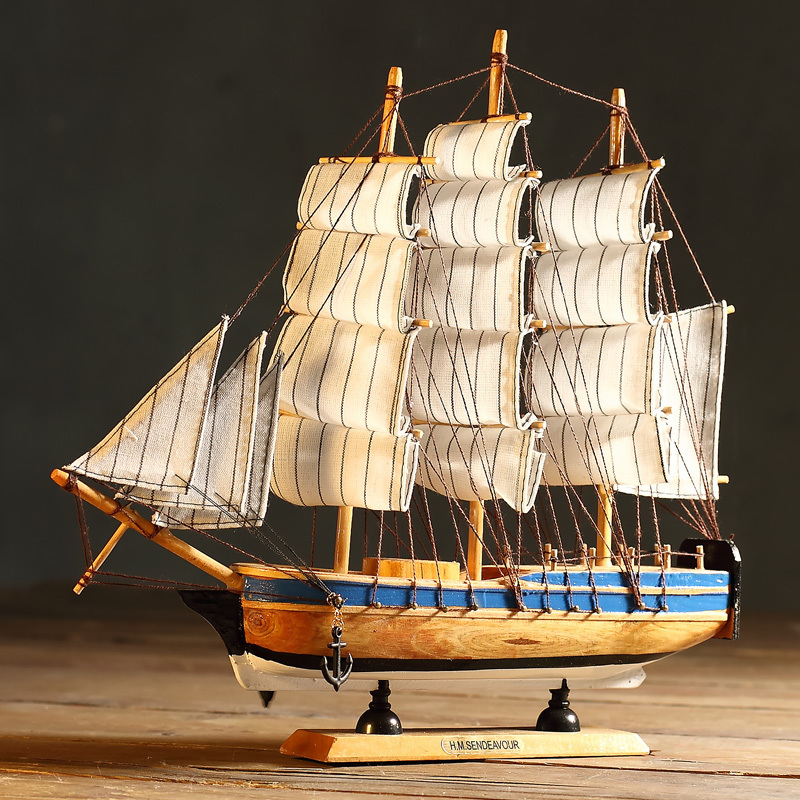 Smooth sailing model sailing ship model wooden ornaments wooden home decorations mediterranean decor