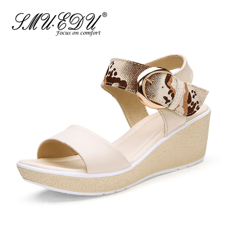 f01019a7a Get Quotations · Smuedu roman style thick crust wedge sandals sweet comfort  casual fashion casual cow leather shoes to
