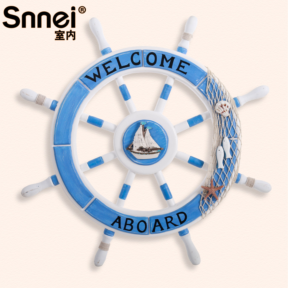Snnei mediterranean solid wooden boat helmsman living room wall decoration creative wall hangings wall hangings decorative wall hanging