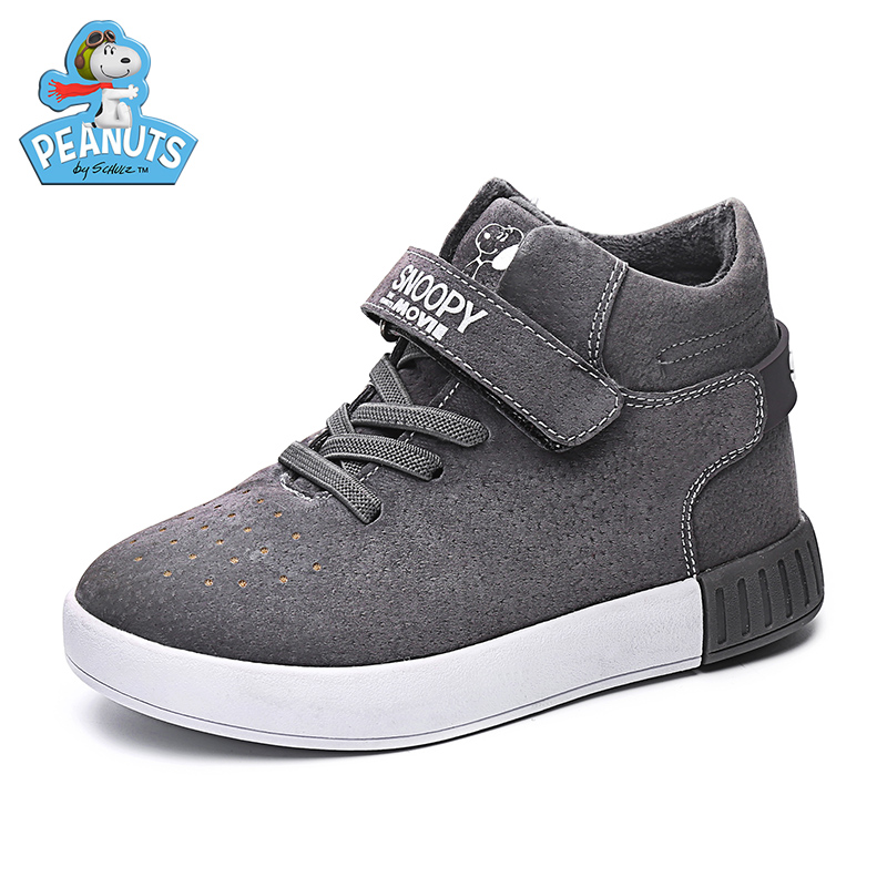 Snoopy snoopy shoes new winter warm shoes plus velvet high to help children casual shoes boys shoes