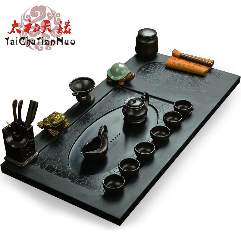 Snow was in the beginning days of natural black stone black stone tea tray tea sea kung fu tea tray factory yunteng auspicious