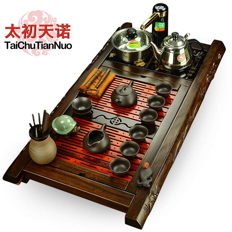 Snow was in the beginning days of solid wood side carved ebony rosewood tea tray tea sets gold stove electric furnace glass kung fu tea yixing tea