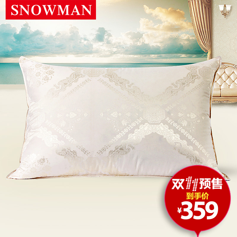 Snowman/adams norman poland 95 white goose down pillow star hotel pillow silk jacquard