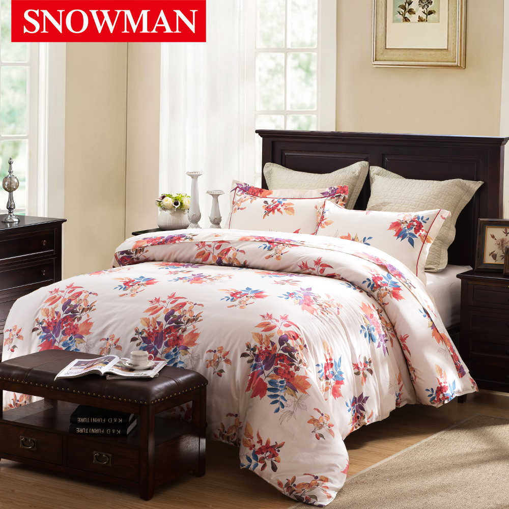 Snowman/norman adams american family of four cotton satin printed cotton denim bedding linen quilt