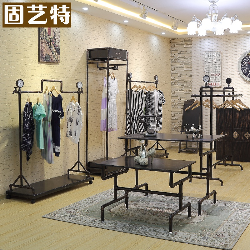 Solid special arts vintage clothing display rack wrought iron clothing rack shelf water table floorstanding clothes shop goods shelf on the wall