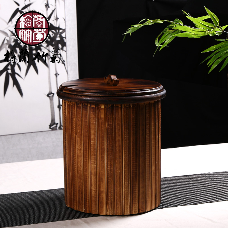Solid wood bamboo tea bucket bucket bucket detong tea leaves tea bucket drain bucket kung fu tea antique home office trash bins