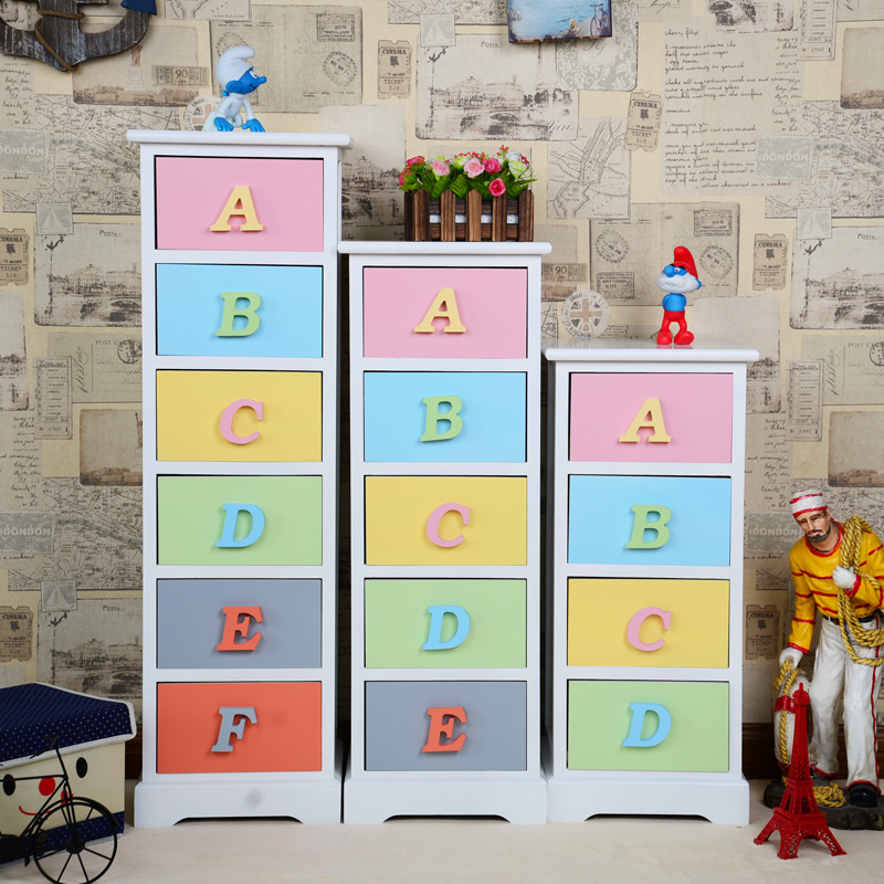 Solid wood drawer storage cabinet storage cabinet finishing children colored letters cabinet ikea bedroom nightstand bedside cabinet bedside cabinet wardrobe cabinets