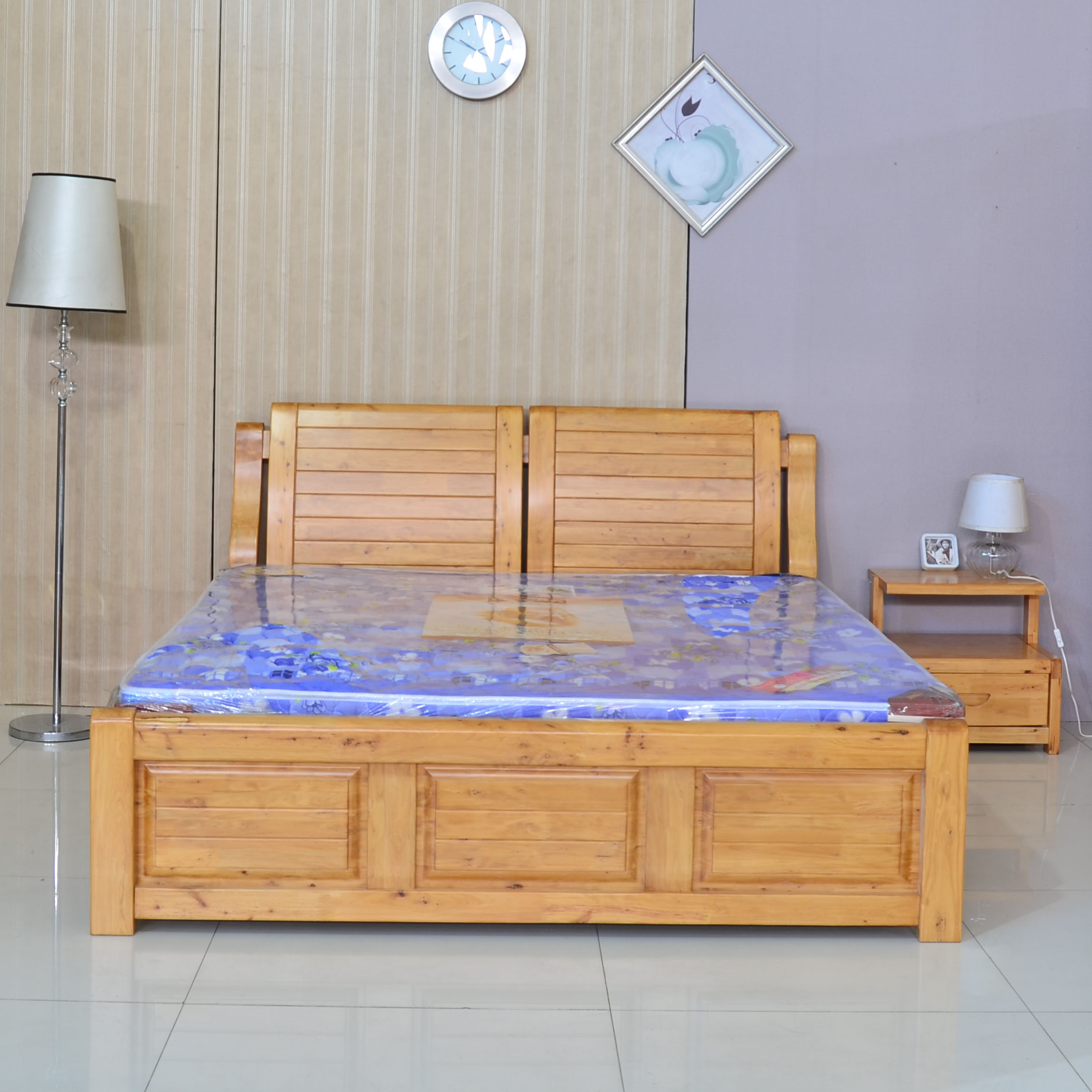 Solid wood furniture 1.8 m double minimalist modern adult category of cypress wood colors m bed marriage bed continental bed category