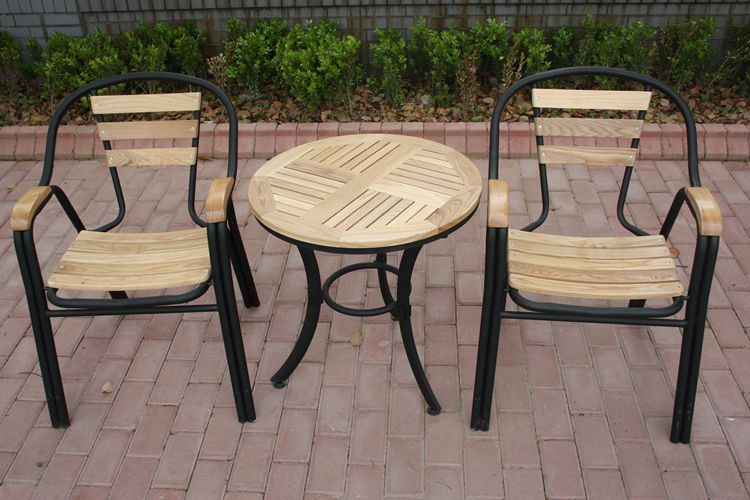 Solid wood tables and chairs for outdoor wrought iron outdoor leisure furniture patio terrace cafe tables and chairs combination three sets