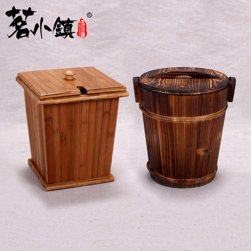 Solid wood tea tray drain bucket bucket bucket bamboo tea tea leaves trash barrels retro trash barrel waste bucket bucket bucket detong tea tea tea leaves bucket bucket