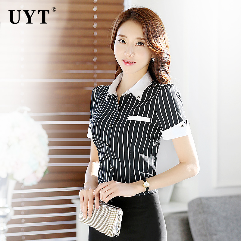 Song dinah professional women's striped shirt short sleeve summer uniforms overalls dress clothes large size shirt stitching