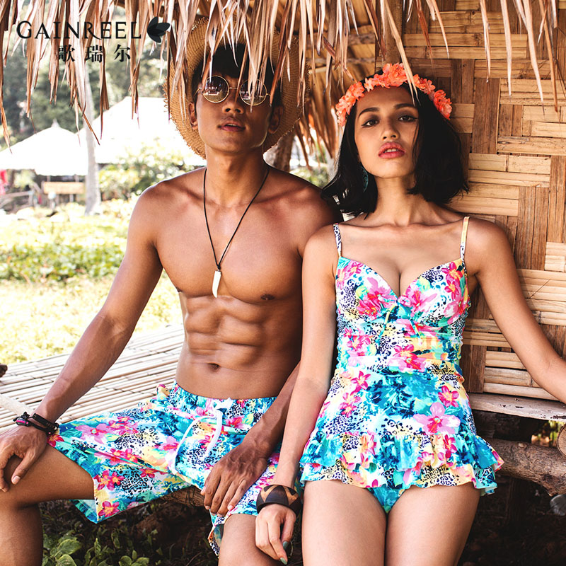 34f48fdc3ab Get Quotations · Song riel sweet printing ms. siamese skirt swimsuit beach  sexy fashion swimwear hot springs in