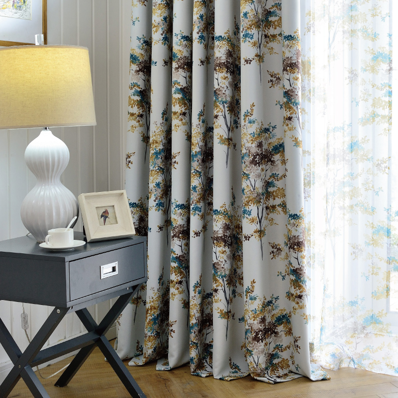 South court thick full blackout curtains finished printing custom modern american living room bedroom floating window curtains