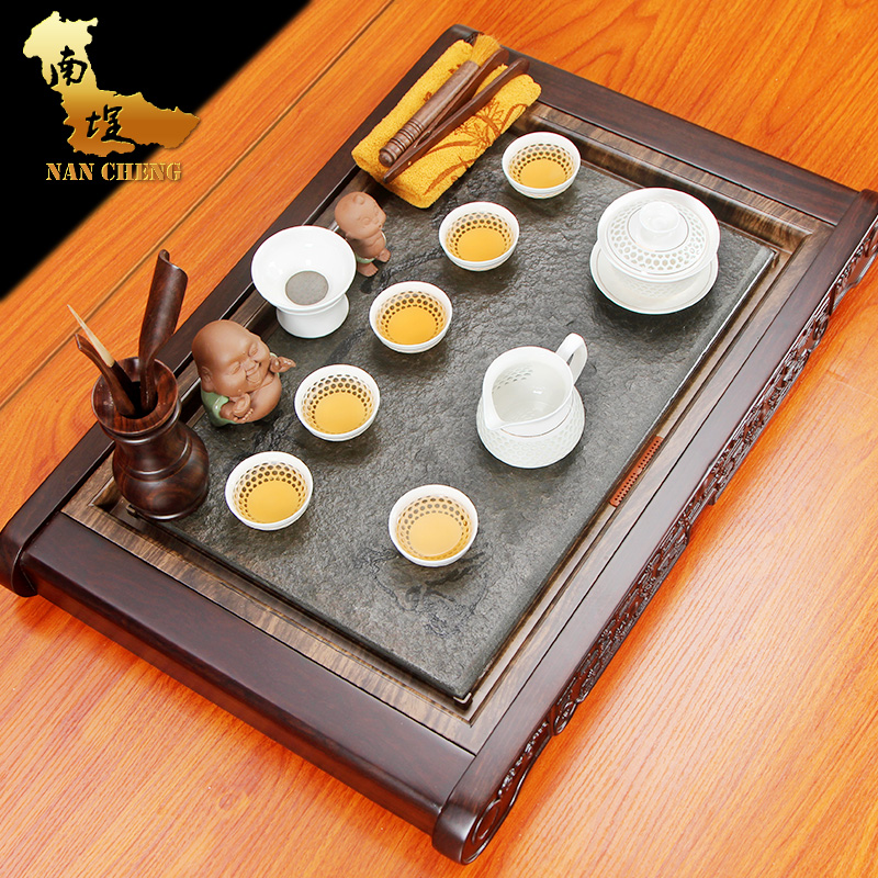 South courtyard ugyen stone ebony wood tea tray entire kung fu tea ceramic tea set kung fu tea large tea sets tea sea