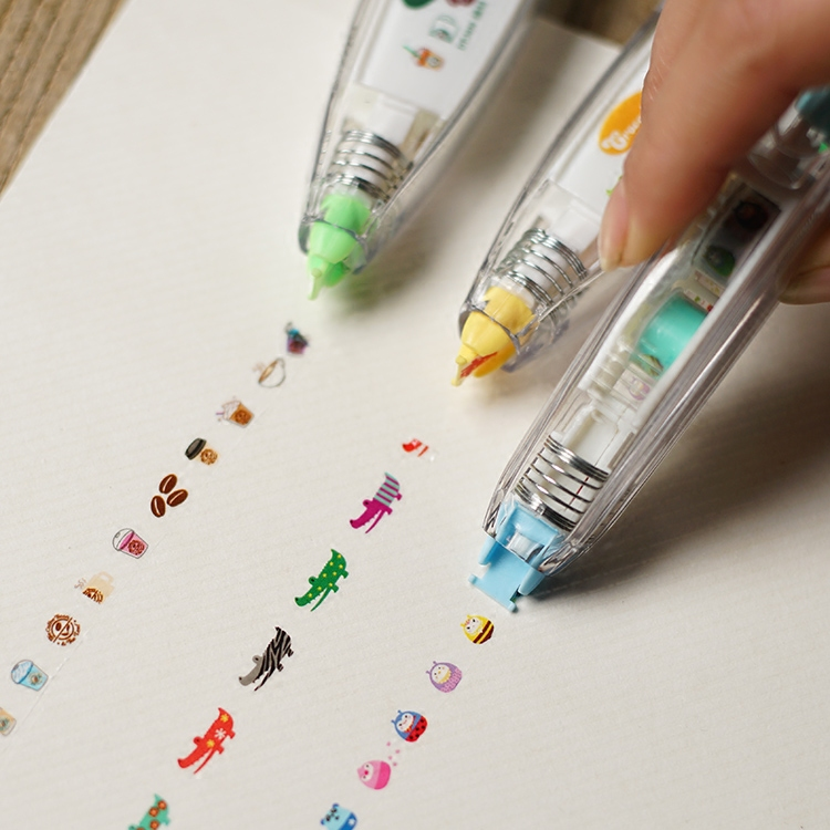 South korea creative stationery lace push correction tape with cute cartoon animals creative features essential diary