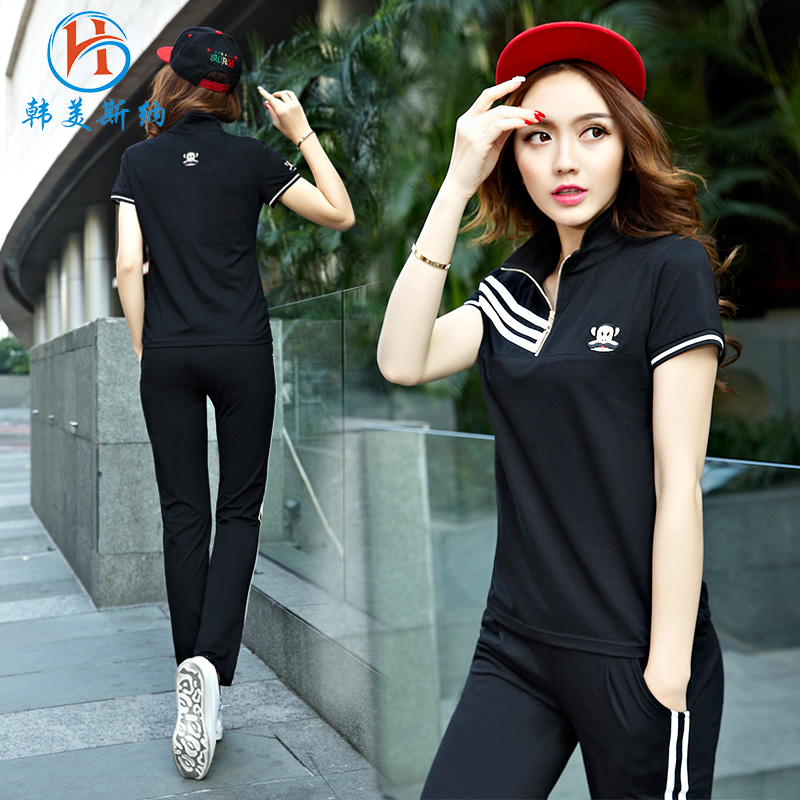 South korea gomez carolina 2016 new short sleeve sportswear suit trousers piece big yards leisure sports suit female summer