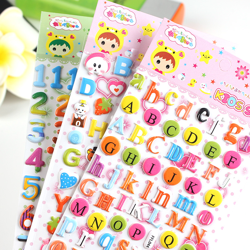 South korea handmade baby album diy production tool cartoon fashion colorful digital word mother bubble stickers 3 models optional