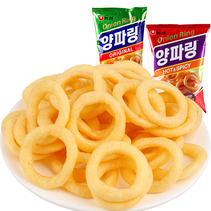 South korea imported agricultural heart of the spicy flavor of onion rings roll super affordable package loaded import puffed zero food