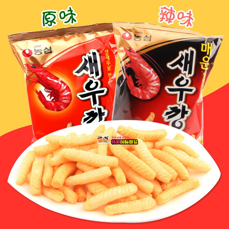 South korea imported food snacks spicy shrimp/shrimp flavor nongshim shrimp flavor 90g puffed snack