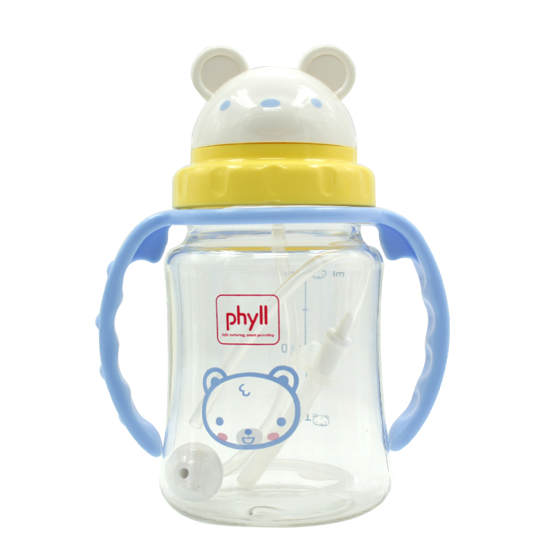 South korea imported phyll baby learn to drink cup with straw handle leak straw cup baby child drinking cup
