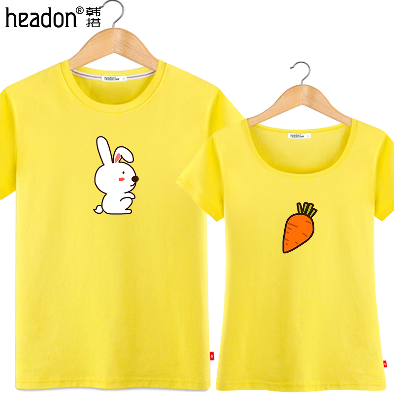 South korea take lovers summer 2016 new wave of korean fan little rabbit cartoon student xia shirt female half sleeve men Pure cotton