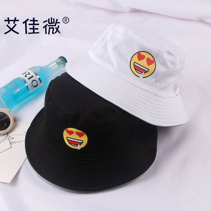 d53f6678c4574 Get Quotations · South korean female college wind retro cartoon hat bucket  hats men and cute cartoon faces sun