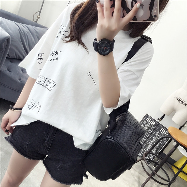 South korean female short in front long sleeved summer influx of women 2016 new korean fan loose student t-shirt korean version of the summer wide