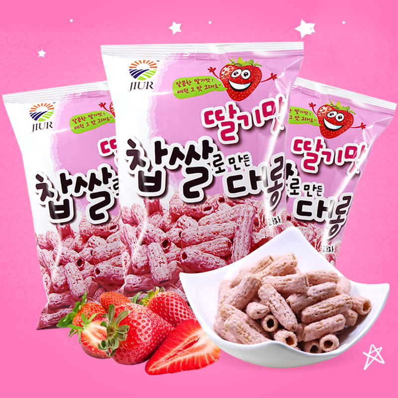 South korean imports of zero food brand cantaloupe strawberry flavor glutinous rice crispy strips office casual snacks 42g
