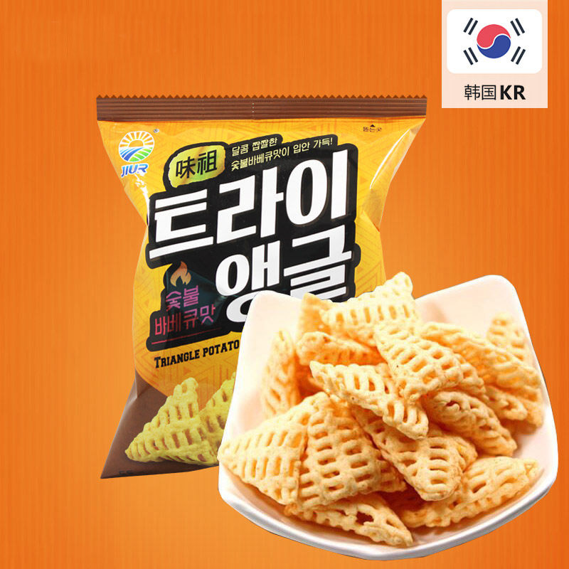 South korean imports of zero food brand potato chips crisp corner charcoal barbecue flavor onion flavor grape flavor 55g/bag
