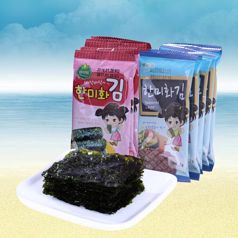 South korean imports of zero food rok-us wo children ready nori seaweed instant kimbap crisp nori 2g * 10